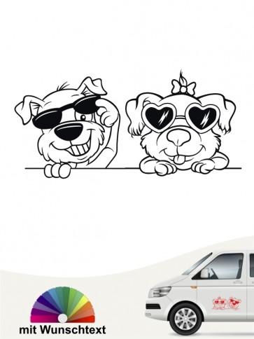 Comic Hunde Autoaufkleber mit Wunschname von anfalas.de