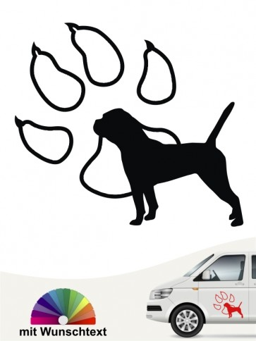 Continental Bulldogge Silhouette in Pfote Autoaufkleber anfalas.de