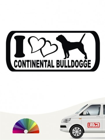 I Love Continental Bulldogge Heckscheibenaufkleber anfalas.de