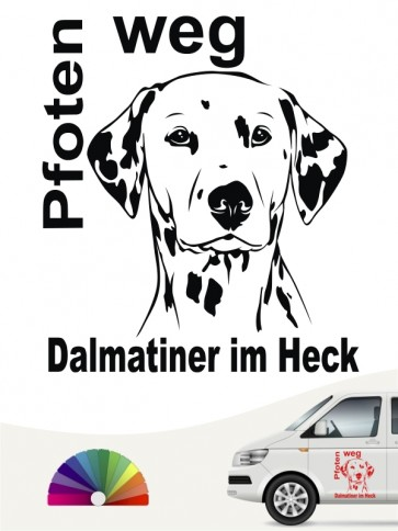 Pfoten weg Dalmatiner im Heck Sticker anfalas.de