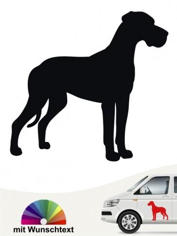 Deutsche Dogge Autoaufkleber mit Wunschtext anfalas.de