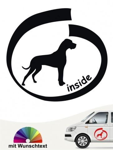 Deutsche Dogge inside Hundeaufkleber mit Wunschtext anfalas.de