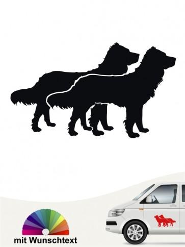 Doppelter Wachtelhund Autoaufkleber mit Wunschtext anfalas.de