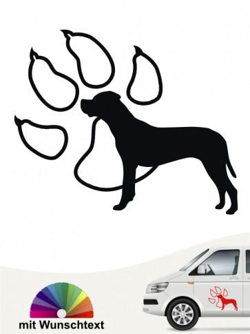 Dogo Argentino Autosticker mit Wunschtext anfalas.de