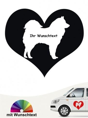 Eurasier Silhouette im Herz Autosticker mit Wunschtext anfalas.de
