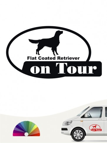 Flat Coated Retriever on Tour Autosticker anfalas.de