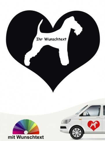 Fox Terrier Herzmotiv Aufkleber mit Wunschname anfalas.de