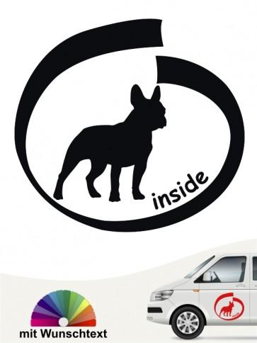Französische Bulldogge inside Hundeaufkleber mit Wunschname anfalas.de