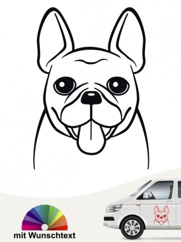 Französische Bulldogge Comic Kopf Autoaufkleber mit Wunschtext anfalas.de
