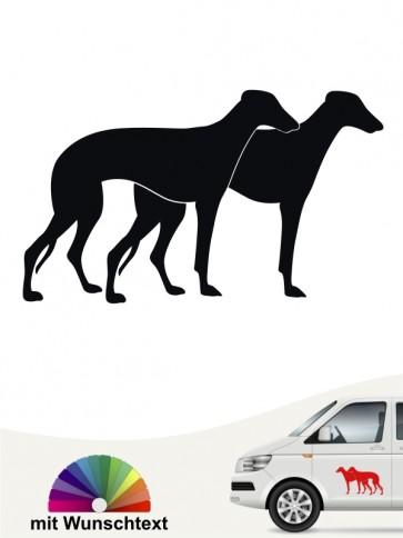 Galgo doppel Silhouette Autoaufkleber mit Wunschtext anfalas.de