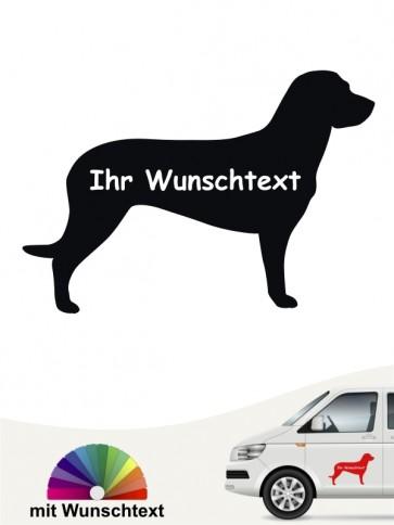 Hannoverscher Schweißhund Silhouette Sticker mit Wunschname von anfalas.de