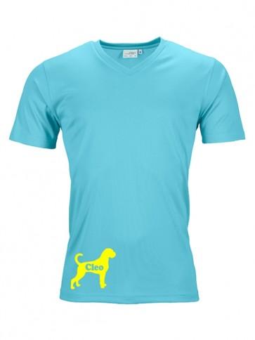Herren Active V-Shirt mit Hundemotiv anfalas .de