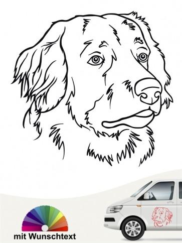 Hovawart Hundekopfaufkleber mit Wunschtext von anfalas.de