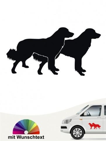 Hovawart doppel Silhouette mit Wunschtext Hundeaufkleber von anfalas.de
