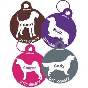 Hundemarke mit Rasse-Silhouette, Rassehund farbig