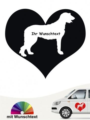 Irish Wolfhound Herzmotiv Aufkleber mit Wunschtext von anfalas.de