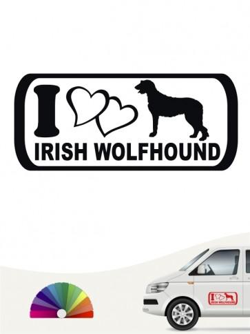 I Love Irish Wolfhound Heckscheibenaufkleber von anfalas.de