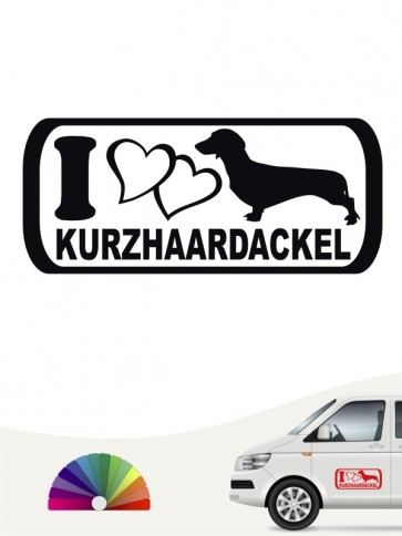 I Love Kurzhaardackel Heckscheibenaufkleber von anfalas.de