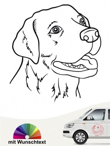 Labrador Kopf Autosticker mit Wunschtext von anfalas.de