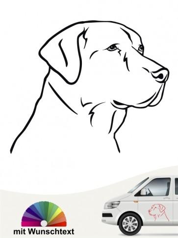 Labrador Retriever Aufkleber mit Wunschtext von anfalas.de