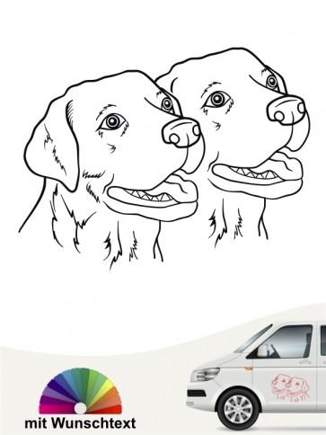 Labrador Köpfe Autosticker mit Wunschtext von anfalas.de