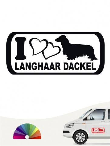 Langhaar Dackel I Love Aufkleber von anfalas.de