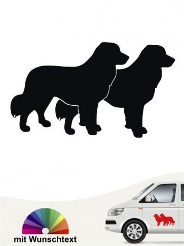 Leonberger doppel Silhouette Aufkleber mit Wunschtext von anfalas.de