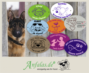 Lustige Hundeschilder selbst gestalten mit anfalas.de