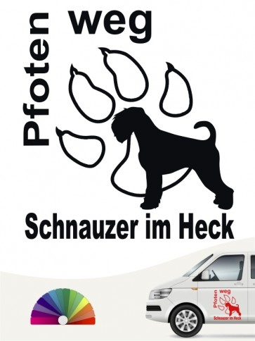 Pfoten weg Schnauzer Autosticker von anfalas.de