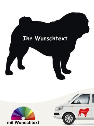 Mops Silhouette Sticker mit Wunschname von anfalas.de