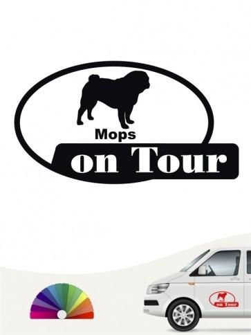 Mops on Tour Hundeaufkleber von anfalas.de