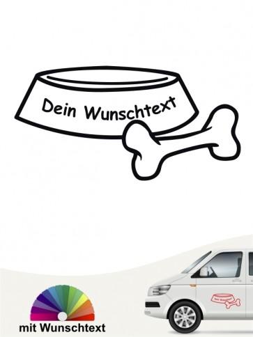 Hunde-Autoaufkleber Napf mit Wunschtext von Anfalas.de