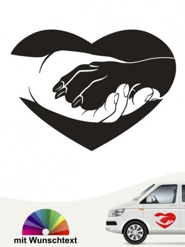 Hunde Pfote Hand Aufkleber fürs Auto mit Namen Schriftzug