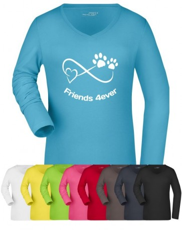 Damen Stretch Langarm-Shirt mit Hundemotiv von anfalas