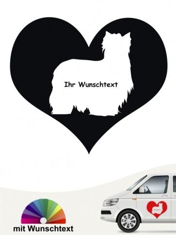 Yorkshire Terrier Silhouette Herzmotiv Sticker anfalas.de