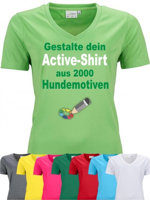 Active V-Shirt für Hundefreunde