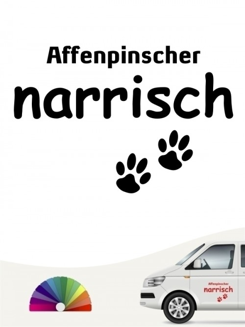 Hunde-Autoaufkleber Affenpinscher narrisch von Anfalas.de