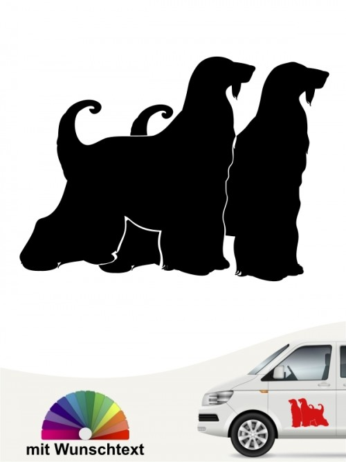 Doppelter  Afghane Hundeaufkleber mit Namen von anfalas.de