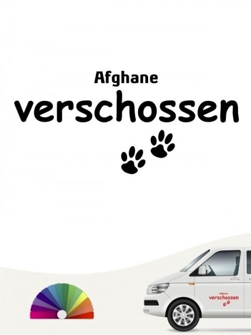 Hunde-Autoaufkleber Afghane verschossen von Anfalas.de