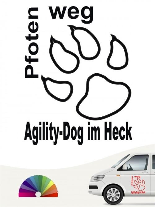 Pfoten weg Agility Dog im Heck Sticker von anfalas.de