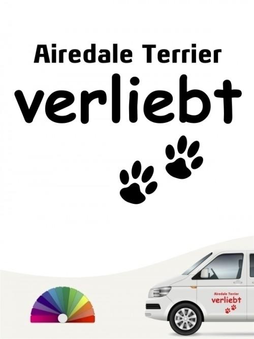Hunde-Autoaufkleber Airedale Terrier verliebt von Anfalas.de