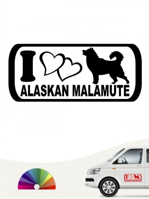 I Love Alaskan Malamute Hundeaufkleber anfalas.de