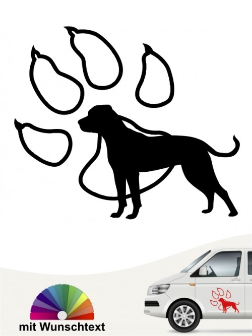 American Bulldog Aufkleber Silhouette in Pfote mit Namen anfalas.de