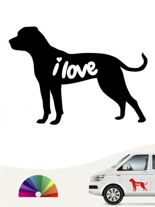 American Bulldog i love Hundeaufkleber anfalas.de