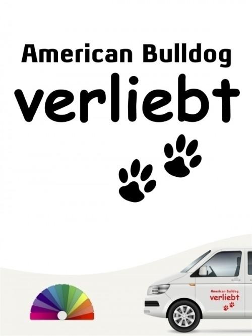 Hunde-Autoaufkleber American Bulldog verliebt von Anfalas.de