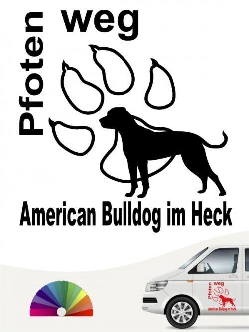 Pfoten weg American Bulldog im Heck Autoaufkleber anfalas.de