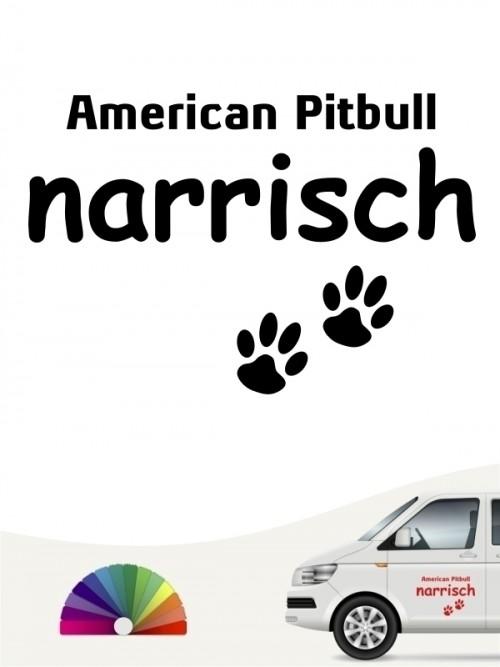Hunde-Autoaufkleber American Pitbull narrisch von Anfalas.de