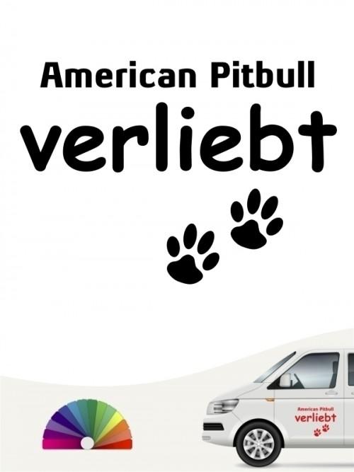 Hunde-Autoaufkleber American Pitbull verliebt von Anfalas.de