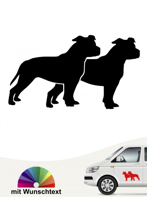 American Staffordshire doppel Silhouette mit Wunschtext anfalas.de