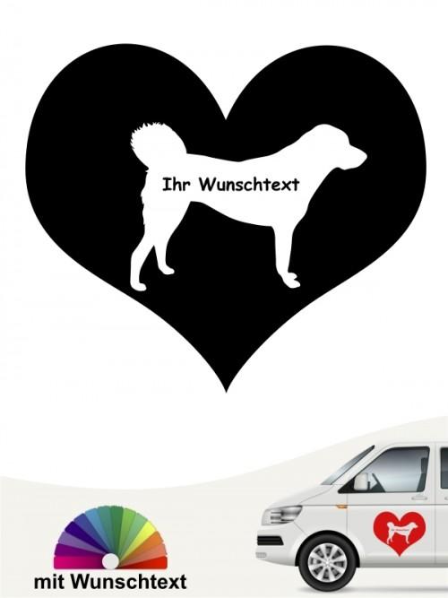 Anatolischer Hirtenhund Silhouette im Herz Aufkleber anfalas.de